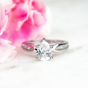 Cubic Zirconia Engagement Ring | Pear Cut